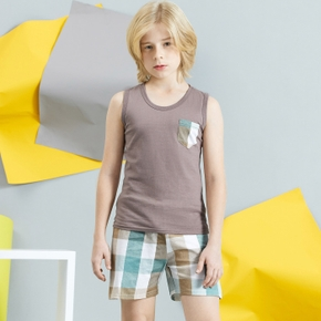 Trendy Kid Boy 2-piece Vest and Plaid Shorts Set