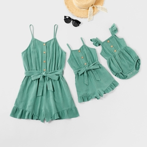 Mommy and Me 100% Cotton Ruffle Solid Sleeveless Rompers