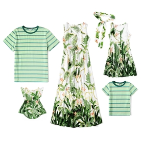 Mosaic Plant Print and Stripe Family Matching Green Sets