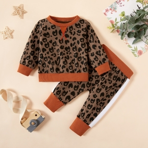 2pcs Baby Girl Long-sleeve Cotton  Street style Leopard Baby's Sets