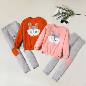 Cute Fox Applique Long-sleeve Top and Leggings Set