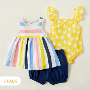 3-piece Baby Girl Stiped Dress and Solid Shorts and Butterfly Allover Bodysuit Set