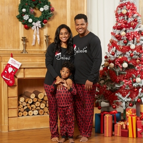 ' Believe ' Top and Christmas Tree Print Pants Family Matching Pajamas Sets (Flame Resistant)