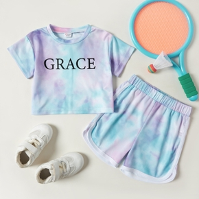 'GRACE' Letter Tie Dyed Tee and Shorts Athleisure Set for Toddlers/Kids
