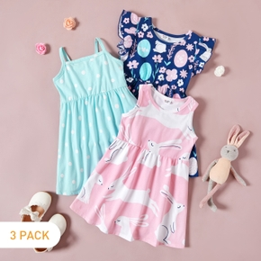 3-piece Toddler Rabbit Floral Short-sleeve Dress
