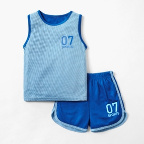 Solid Mesh Tank Top and Shorts Athletic Set for Toddlers / Kids