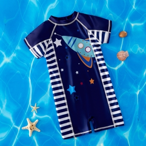 Trendy Kid Boy Galaxy Geometric Vehicle Swimsuit