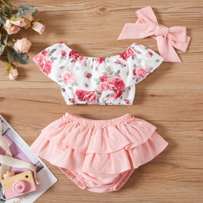 3pcs Baby Girl Flutter-sleeve Ruffled Floral Print Cotton & Polyester Baby's Sets