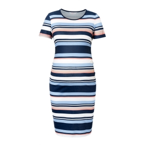 Striped Colorblock Short-sleeve Maternity Dress