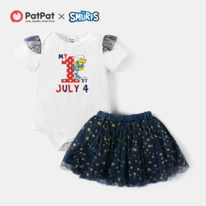 Smurfs Baby Girl 2-piece First July 4th Romper and Stars Skirt Sets