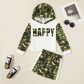 Kids Girl Letter Hooded Sweatshirt and Shorts Set