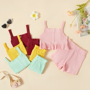 2-piece Toddler Girl Casual Solid Striped Camisole and Shorts Set