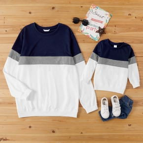 Colorblock Splice Print Long Sleeve Sweatshirts for Dad and Me