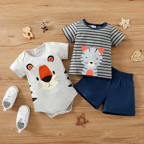 3pcs Baby Boy casual Animal Tiger Print Short-sleeve Cotton Romper Baby's Sets