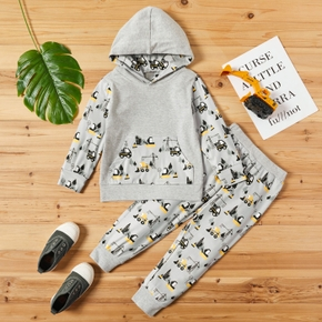 2-piece Baby / Toddler Car Print Hooded Pullover and Pants Set