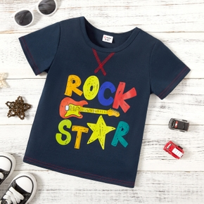 Fashionable Toddler Boy Rock Letter Guitar Print Tee