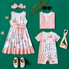 Elephant and Stripe Allover Sibling Matching Coral Sets