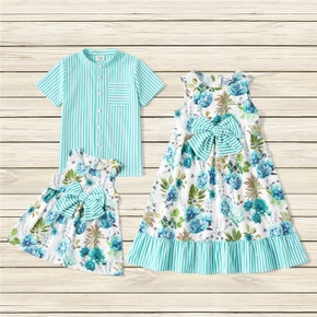 Mosaic Floral and Stripe Print Sibling Matching Light Blue Sets