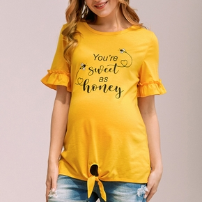 Maternity casual Letter Print Round collar Short Sleeve T-shirt