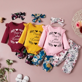 3pcs Baby Girl Sweet Letter Baby's Sets Romper Fashion Cute Infant Clothes Outfit Clothing