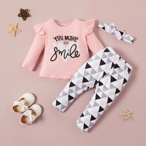 3pcs Letter and Triangles Print Long-sleeve Pink Baby Set