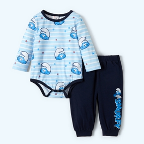 Smurfs Smurfy Striped 2 Piece Cotton Bodysuit and Pants Set