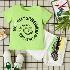 2-piece Toddler Boy Letter Tee and Shorts Set