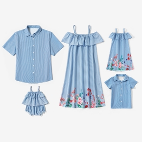 Blue and White Stripe Series Family Matching Sets(Floral Splice Print Off Shoulder Dresses for Mom and Girl  - Short Sleeve Shirts for Men and Boy)