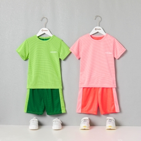 Solid Tee and Color Contrast Shorts Athletic Quick-dry Set for Toddlers / Kids