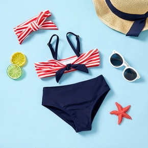 3pcs Baby Girl Stripe Tank Bowknot Swimsuit With Headband