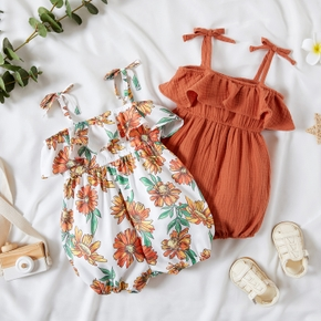 1pc Baby Girl Sleeveless Flounced Floral Print Jumpsuit