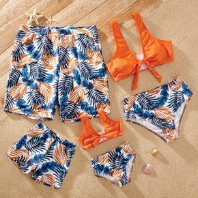 Tropical Plants Print Family Matching Swimsuits(2-piece Front Tie Swimsuits for Mom and Girl; Swim Trunks for Dad and Boy)