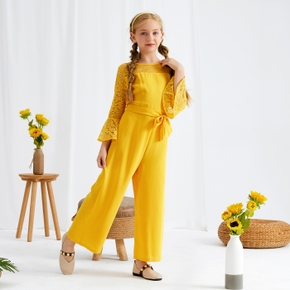 Kid Girl Flower Embroidery Lace Hollow out Bell sleeves (Multi Color Available) Jumpsuit with Belt