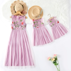 Floral Embroidery Sleeveless Matching Pink Midi Tank Dresses