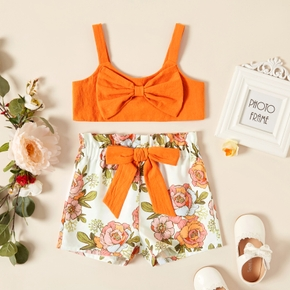 Trendy Toddler Girl Bowknot Tank And Floral Print