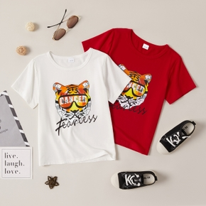 Stylish Kid Boy Tiger Letter Print T-shirt