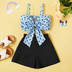 2-piece Toddler Girl Polka dots Bowknot Camisole and Casual Shorts Set