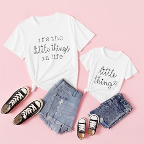 Letter Print White Short Sleeve T-shirts for Mom and Me