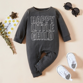Letter Print Long-sleeve Grey Baby Jumpsuit