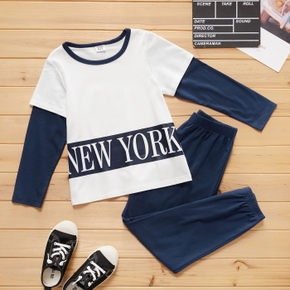 2-piece Kid Boy Letter Print Colorblock Long-sleeve T-shirt and Elasticized Solid Pants Casual Set