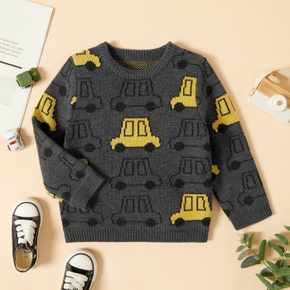 Toddler Boy Car Print Colorblock Knitted Sweater