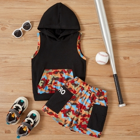 2-piece Toddler Boy Camouflage Hooded Top and Shorts Set