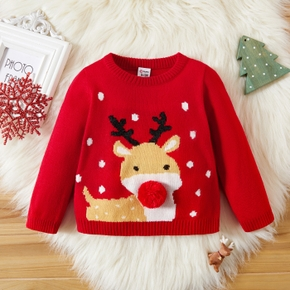 Baby Girl Deer Embroidery Pompon Decor Christmas Sweater