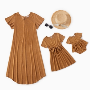 Solid Short-sleeve Matching Brown Midi Dresses