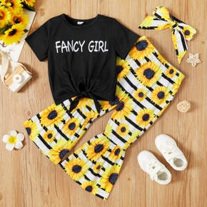 2-piece Toddler Girl Letter Print Tie Knot Tee and Floral Sunflower Print Flared Pants Set