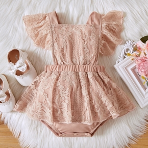 Floral Print Lace Sleeveless Baby Romper