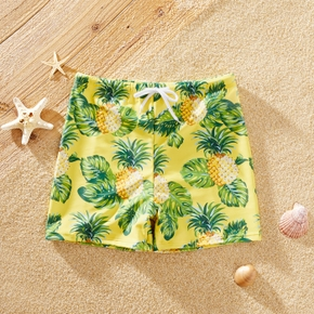 Fashionable Kid Boy Pineapple Print Trunks Shorts
