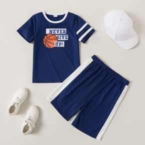 'Never give up' Basketball Print Tee and Shorts Athleisure Set for Toddlers/Kids