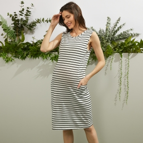 Nursing casual Stripes Print Round collar Tank Sleeveless Nursing Dress