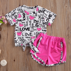 2-piece Toddler Girl Love Top and Solid Shorts Set